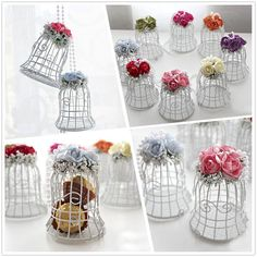 White Bird Cage Wedding Party Gift Box Metal Candy Chocolate Flower Decor  #Unbrand
