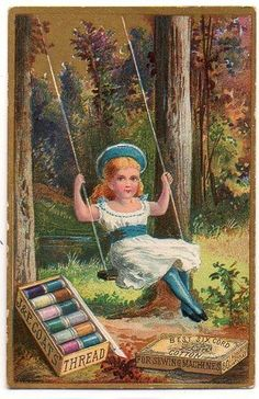J P Coats Thread Girl in Swing Victorian Trade Cards Sewing