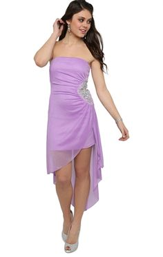 Deb Shops Strapless High Low #Prom #Dress with Asymmetrical Hem and Stone Side  $62.90
