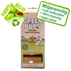 Nettdyret.no - Dyrebutikk - Fri frakt over 500,- Hundeposer Bio Nedbrytbare120stk Green Pups Bags - Renslighet - Hygiene - Hund