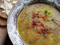 German Split Pea Soup 2 Tbsp. extra-virgin olive oil 2 slices bacon ...