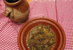 A Moroccan recipe for tangia, meat seasoned with Moroccan spices and slow-cooked in traditional clay cookware called a tangia.