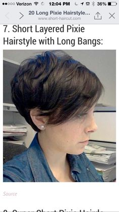 """50 Amazing Short Cut Hairstyles Ideas 55 Long Pixie Hairstyles- may be handy for the growing out process!"""", """"Jessie possible hair cut Long bang pixi Pixie Long Bangs, Cute Hairstyles For Short Hair, Short Hair Cuts, Short Hair Styles, Short Pixie, Short Hair In Back, Great Hair, Pixies, Hair Today"""