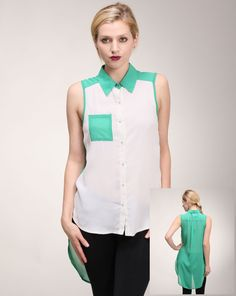 Alexandra says: With a slight retro feel, this summery blouse would work wonders with denim cutoffs or leather shorts. Not to mention that pop of color pocket square is just too cute Denim Cutoffs, Leather Shorts, Pocket Square, Color Blocking, Color Pop, High Low, Retro, Blouse, Cute