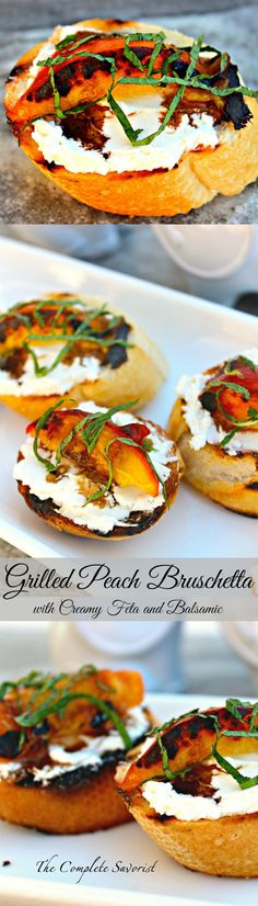 Grilled Peach Bruschetta with Creamy Feta and Balsamic ~ Luscious peaches and your favorite baguette grilled together with a creamy feta cheese spread between them, drizzled with balsamic reduction and fresh mint ~ The Complete Savorist:
