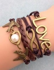 Brown love, infinity, sparrow wrap bracelet - perfect for pairing with fall styles!
