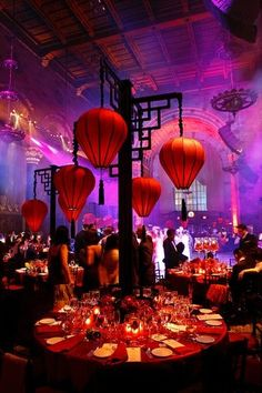 -Stunning Asian Inspired Event Design, #centerpieces at this lovely #uplighting #wedding #reception! #diy…