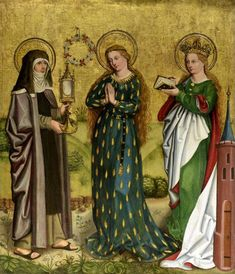 Three Standing Female Saints: Saint Clare, the Virgin Mary and Saint Barbara; German, c. 1470-1480 The Nasher Collection