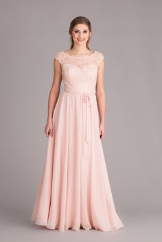 A gorgeous lace and chiffon bridesmaid dress with an illusion lace neckline and long chiffon skirt. | Kennedy Blue Bella | 2015 Spring Bridesmaid Collection