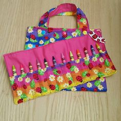 Toddler Tote Bag  Rainbow Crayon Roll  Ladybug by Sewing4Babies