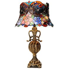 "452-752 - Tiffany-Style 24.25"" Midnight Roses Stained Glass Table Lamp"