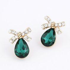 Personaliz Green Water Drop Shape Design Alloy Stud #Earrings  www.asujewelry.com