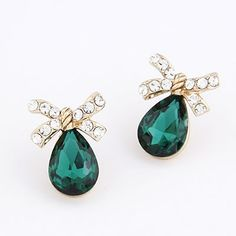 Personaliz Green Water Drop Shape Design Alloy Stud #Earrings  www.asujewelry.com