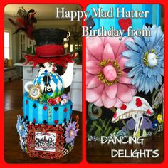 Mad hatter Alice in Wonderland theme topsy turvy red velvet cake I made for a special 10 year old #madhatter #aliceinwonderland #topsyturvy