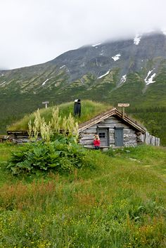 Traditional turf-covered hut, Norway