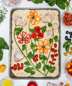 How To Make Focaccia Bread Art With Vegetables + Herbs – Sugar Geek Show Art Du Pain, Lotte Au Curry, Easy Focaccia Recipe, Bread Recipes, Cooking Recipes, Bread Art, Vegetarian Recipes, Healthy Recipes, Scd Recipes