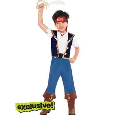 Toddler Boys Jake Costume - Jake and the Never Land Pirates - I think I'm gonna get this for my son :D. He would Love it ♥