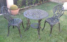 Amazon.com: Outdoor Cast Aluminum Patio Furniture 3 Piece Bistro Set: Patio, Lawn & Garden