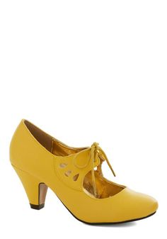 On the Bright Foot Heel in Yellow - Yellow, Solid, Cutout, Mid, Lace Up, Good, Party, Work, Daytime Party, Vintage Inspired, 20s, 30s, Faux Leather, Variation