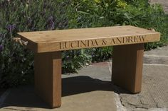 Are you interested in our personalised oak bench? With our oak seat you need look no further. Oak Bench, Bench Seat, Oak Table Top, A Table, Garden Furniture, Outdoor Furniture, Outdoor Decor, Porch Oak, Character Letters