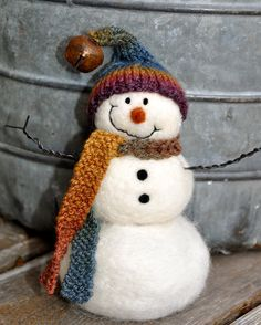 Needle Felted Snowman - I bought my first kit ever from this Needle Felter! :) It was a pumpkin and started my obsession with felting :P