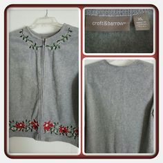 ❤ Woman's Grey Cardigan Size XL ❤ This Is A Woman's Cardigan By Croft & Barrow Size XL Very Pretty Sweater With Flowers And Solid Grey Feels Like A Fleece Material. This IS In Excellent Condition Selling For A Friend 🚫 PAYPAL 🚫 TRADES 🚫 LOWBALLING ❤ Croft & Barrow Sweaters Cardigans