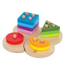 Wood Geometric Shape Sorter Puzzle by HAPE International. $9.95. It's a gorgeous wood puzzle, it's an educational shape sorter! Best of all, it's an heirloom-quality toy your grandkids may someday enjoy. Kids will learn to fit the four base pieces together, then stack the geometric shapes, using the pegs as guides. (Encourage your child to start with the single peg, then work his way up to the more complex pieces.) Teaches colors and shapes; builds coordination and problem-solvin...