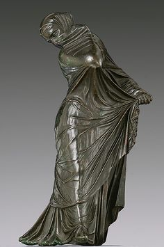 Bronze statuette of a veiled and masked dancer, bronze, Greek, 3rd-2nd century BC