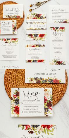 This stunning floral wedding invitation comes with hand painted watercolour flowers in a rich burgundy color palette to captivate all your guests from the outset. Perfect for creating an elegant and enticing atmosphere in the build up towards your big day, while letting friends and family know all the important information about your wedding. Affordable Wedding Invitations, Elegant Wedding Invitations, Burgundy Colour Palette, Watercolor Flowers, Watercolour, Navy Flowers, Wedding Designs, Big Day, Wedding Flowers