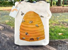 Bee Hive Fair Trade Tote Bag Reusable Shopper Bag Cotton Tote Shopping Bag Eco Tote Bag by ceridwenDESIGN http://ift.tt/1qdeAFm