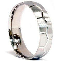 Soccer Ball Design Mens 14K White Gold Brushed Wedding Ring Band Bridal 7-12