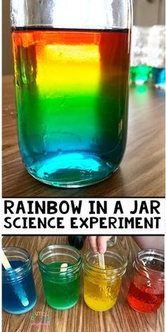Rainbow In A Jar Science Experiment This is such a great science experiment to teach about density. activities Rainbow In A Jar Science Experiment - Primary Playground Preschool Science Activities, Science Projects For Kids, Easy Science Experiments, Science For Kids, Science Fun, Summer Science, Science Classroom, Science Centers, Science Chemistry