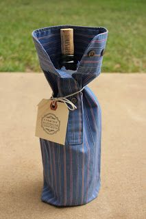 Wine Sleeves.  Begin by cutting the sleeves off the shirt.  Sew the bottom so that the cuff ends up at the top of the bottle.  Add jute or twine to tie around neck of bottle.