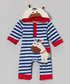 This Blue Stripe Horse Hooded Playsuit - Infant by Baby Essentials is perfect! #zulilyfinds