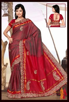 Embroidered Saree Itemcode: TC28 Price: $460.00 Shop Now @ http://www.saridhoti.com/Saridhoti-Silkcotton-TC28