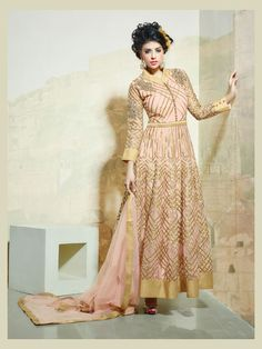 Buy Light Pink Net Ankle Length Anarkali Suit 63500 online at lowest price from huge collection of salwar kameez at Indianclothstore.com.