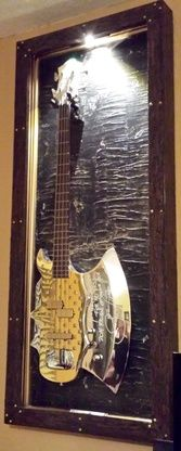 """KISS - Gene Simmons Axe Bass  Bass Guitar Display Case.- """"Black Pearl"""" DELUXE Shadow Box w/ wireless LED light"""