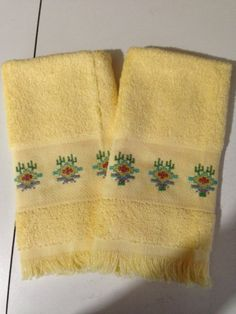 Fingertip Towels - Finished - Southwest Design on Yellow - Set of 2 Cross Stitch Fingertip Towels, Guest Towels, Cross Stitch Embroidery, Scrap, It Is Finished, Yellow, My Love, Ebay, Design