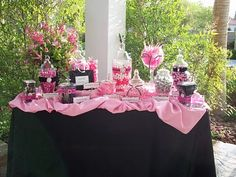 Candy Buffet features 12 different candies (7-12 containers) and attractive color-themed display. Description from hottshotsentertainment.com. I searched for this on bing.com/images