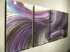 Abstract Metal Wall Art Contemporary Modern Decor Original Echo in Purple   eBay
