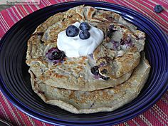 Gluten Free No -Sugar- Added Blueberry & Oat Pancakes