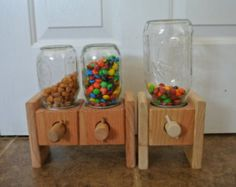 Natural Wood  Hand-made Wood Candy Dispenser  M&M Peanut