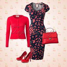 Tenue robe moulante à cerises, cardigan rouge et escarpins rouges vernis - TopVintage