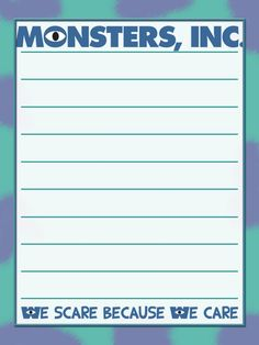 Monsters Inc - Project Life Journal Card - Scrapbooking ~~~~~~~~~ Size: Life Journal, Journal Pages, Scrapbook Journal, Scrapbook Pages, Autograph Book Disney, Logo Clipart, Disney Cards, Disney Printables, Project Life Cards