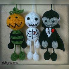 Halloween Ornaments - Pumpkin Head, Skeleton and Dracula Vampire Set of three Crochet Skull, Crochet Buttons, Halloween Ornaments, Halloween Party Decor, Crochet Gifts, Crochet Dolls, Halloween Crochet Patterns, Halloween Quilts, Crochet Decoration