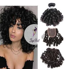 Brazilian Bouncy Curly Human Hair Weave Bundles with Lace Closure - ivyshelf Ombre Color, Fashion Sewing, Remy Hair, 100 Human Hair, Lace Closure, Brazilian Hair, Weave Hairstyles, Hair Type, Hair Lengths