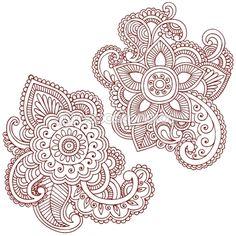 Henna Flower Doodles Vector Design Elements by blue67 - Imagen vectorial