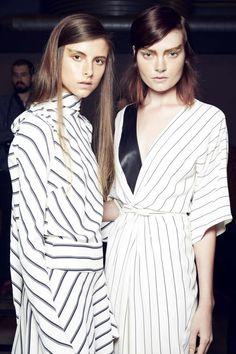 Trending at Australian fashion week 2014 - monochrome stripes - thin black & white stripes