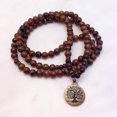 108 Rama mala necklaces. Mala beads for prosperity and love. Gemstone mala beads for grounding, love, self-esteem, self-love, healing relationships, anahata