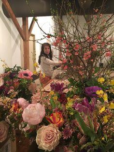 Mayumi preparing for the art exhibition